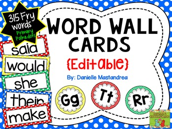 Fry Sight Words / Word Wall Cards in Primary Polka Dots {E