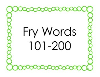 Fry Sight Words 101-200