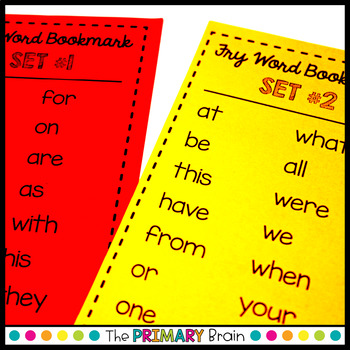 Fry Word Sight Word Bookmarks - Includes the first 200 words