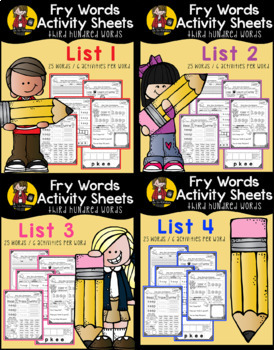 Fry Word Activity Sheets {1st, 2nd, 3rd, & 4th Hundred Words MEGA BUNDLE}