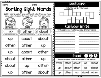 Fry Word Activity Sheets {First Hundred Words}