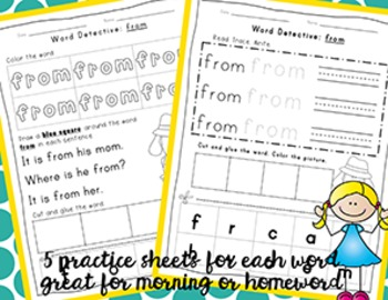 Fry Word Activity Sheets {First Hundred Words - List 1} {Click File, Print}