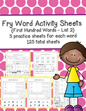 Fry Word Activity Sheets {First Hundred Words - List 2} {Click, File, Print}