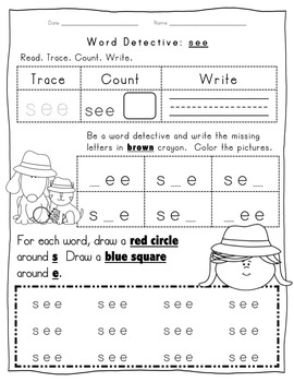 Fry Word Activity Sheets {First Hundred Words - List 3} {Click File, Print}