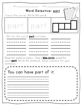 Fry Word Activity Sheets {First Hundred Words - List 4} {Click File, Print}