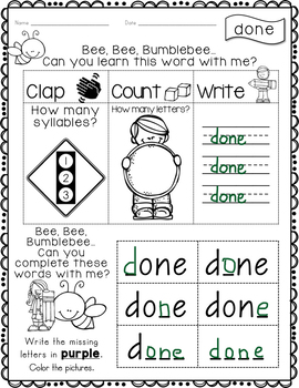 Fry Word Activity Sheets {Fourth Hundred Words - List 3} {Click File, Print}