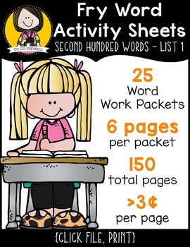 Fry Word Activity Sheets {Second Hundred Words BUNDLE}
