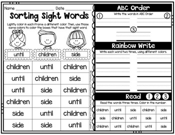 Fry Word Activity Sheets {Third Hundred Words}