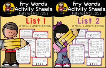 Fry Word Activity Sheets {Third Hundred Words BUNDLE}