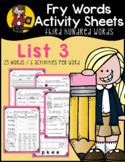 Fry Word Activity Sheets {Third Hundred Words - List 3} {C