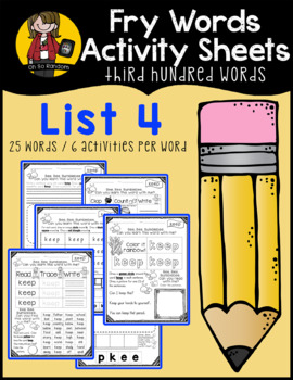 Fry Word Activity Sheets {Third Hundred Words - List 4} {Click File, Print}