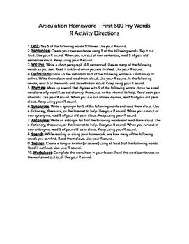 Fry Word Articulation Homework - First 500 Words for S, Z, SH, CH, TH, L, and R