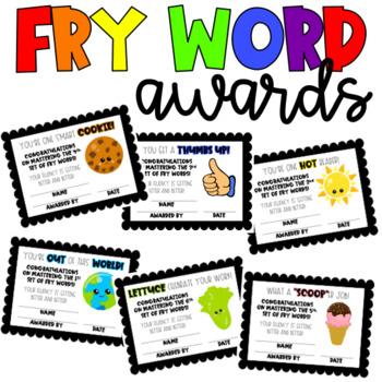 FRY WORD AWARDS 1-6