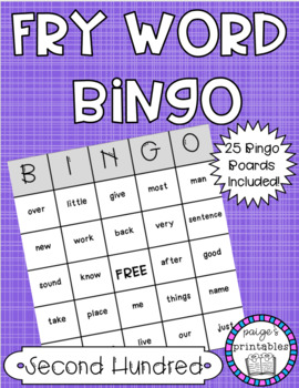 Fry Word BINGO - Second Hundred Sight Word Activity