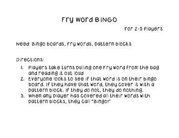 Fry Word Bingo