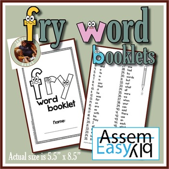 Fry Words 1-1000 Booklet (Easy Assembly)