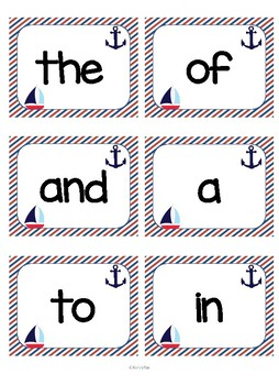 Fry Word Cards 1-100 Nautical Theme