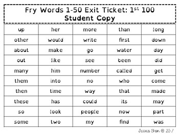 Fry Word Exit Tickets Lists 1-5