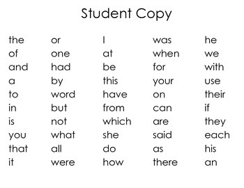 Fry Word First 50 Words Assessment