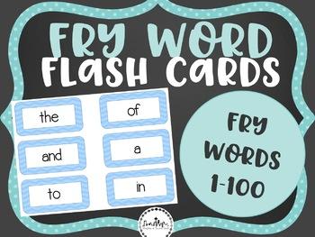 Fry Word Flashcards: 1-100