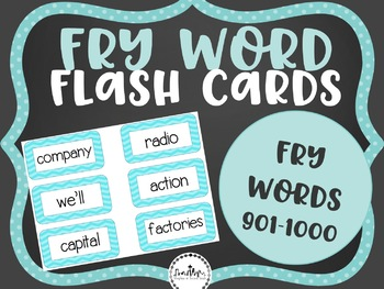 Fry Word Flashcards: Words 901-1000