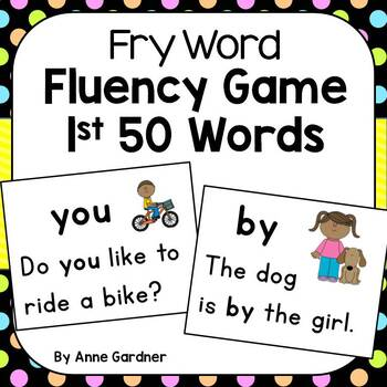 "Fry Word Fluency Game ~ Sentence Reading ""Bang"" Game  (Fry Words 1 - 50)"