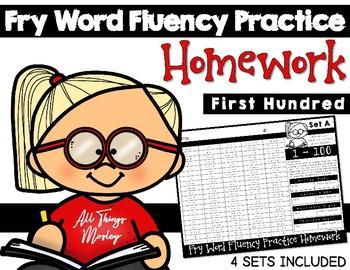 Fry Word Fluency Practice Homework: First Hundred