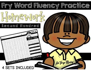 Fry Word Fluency Practice Homework: Second Hundred