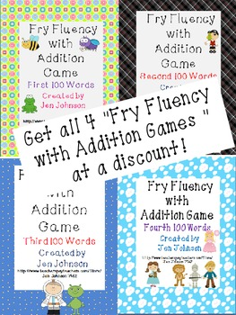 Fry Word Fluency with Addition Game- 4 pack