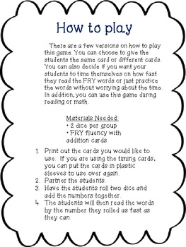 Fry Word Fluency with Addition Game First 400