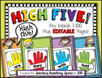 Fry Word High Five with EDITABLE Pages --- Fry Words 1-100