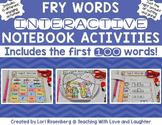 Fry Words Editable Interactive Notebook Activities {1st Hundred Words}