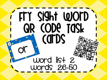 Fry Word List 2 QR Code Task Cards