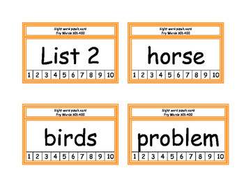 Fry Word List 301-400 Punch Cards