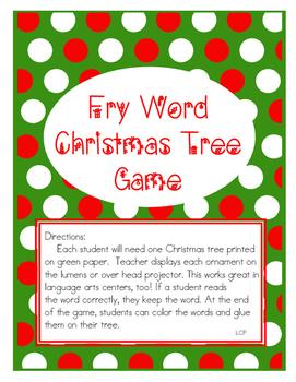 Fry Word List Christmas Game