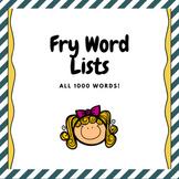 Fry Word List Freebie