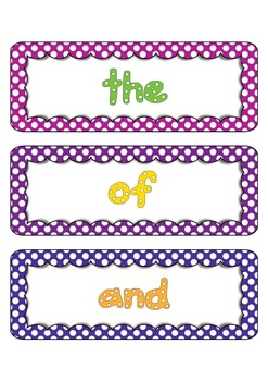 Fry Word List Word Wall Cards in Polka Dots 1 to 100