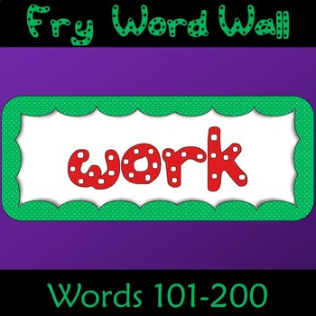 Fry Word List Word Wall Cards in Polka Dots 101 to 200