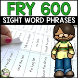 Fry Sight Words Phrases for First 600 Fry Words (Editable and Label Ready)