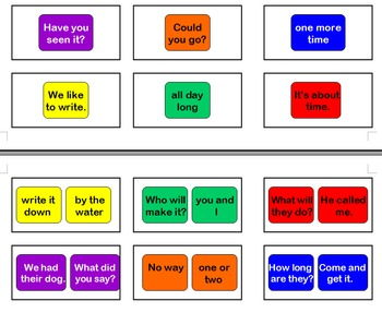 Fry Word Phrases Sight Words Cards for Candyland Game Set 1A