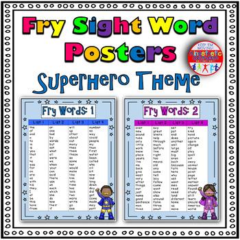 Fry Sight Word Posters - Superhero Theme