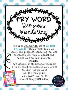 Fry Word Progress Monitoring/RTI- All 1000 Fry Words BUNDLE
