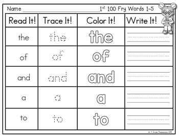 Fry Word Read, Trace, Color, Write It! Center {1st 100 Fry Words}