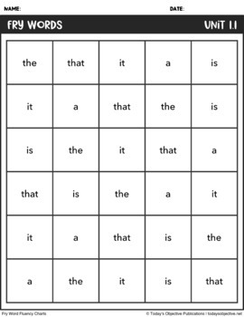 Fry Word Sentences - First 100 Words (Sight Word Fluency)