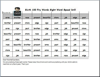 Fry Sight Words Speed Drills For ALL 1,000 Fry Words