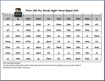 Fry Word Speed Drills For First 600 Fry Sight Words!
