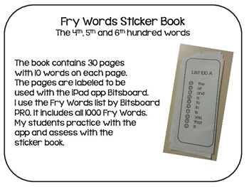 Fry Words Sticker Book- The 4th, 5th and 6th Hundred Words