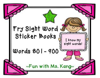 Fry Word Sticker Book 801-900