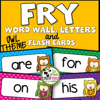 Fry Word Wall and Flash Cards Owl Theme {1st 300 Words}