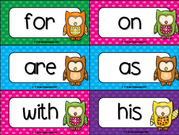 Fry Word Wall and Flash Cards Owl Theme {1st 300 Fry Sight Words}